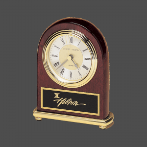 "4"" x 5"" Rosewood Piano-Finish Arch Clock with Brass Accents"