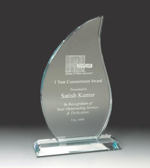 Flame Jade Glass Award with Base MAD1150TGL