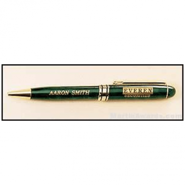 Green Marble Pen with Gold Trim 1