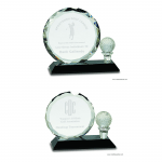 Round Facet Crystal with Golf Ball on Black Pedestal Base Awards