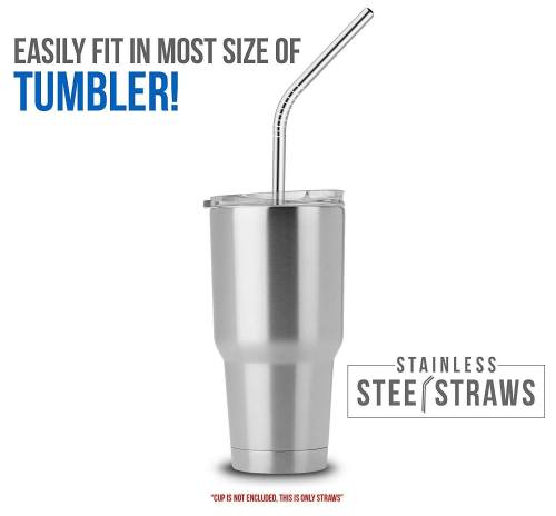 Steel straws in a tumbler
