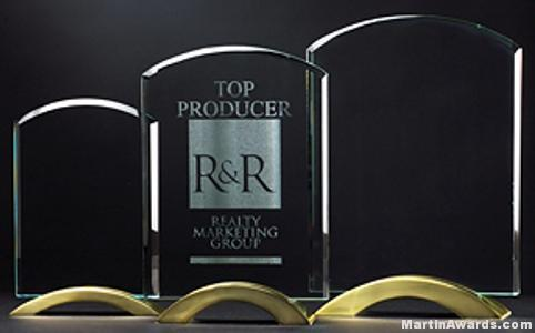 Arch Series with Gold Metal Base Glass Award