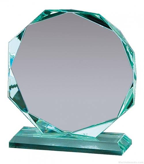 Octagon Jade Faceted Glass Award