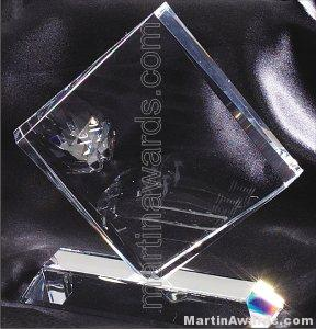 Crystal Glass Awards – 6″ x 6 1/2″ Genuine Prism Optical 1