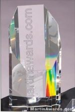 "Crystal Glass Awards - 3"" x 6 1/2"" Genuine Prism Optical"