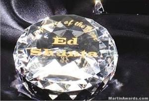 "Crystal Glass Awards - 2"" x 3 1/2"" Genuine Prism Optical Crystal Diamond"