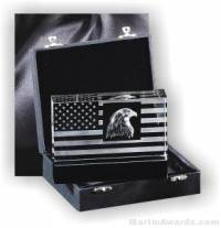"Crystal Glass Awards - 6"" x 4 1/2"" Genuine Prism Optical Crystal Patriot Desigb With Black Base"