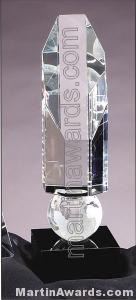 Crystal Glass Awards – 2 3/4″ x 9″ Genuine Prism Optical Crystal With Black Base 1