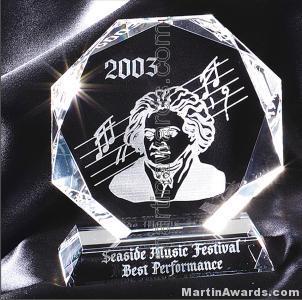 "Crystal Glass Awards - 5"" x 6"" Genuine Prism Optical Crystal"