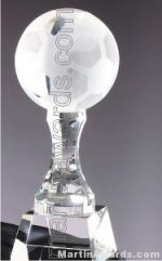 """3 1/2"""" x 10"""" Soccerball Prism Optical Crystal Glass"""