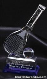 "4 1/4"" x 10"" Tennis Racket And Ball Prism Optical Crystal Glass With Indigo Blue Sub Base"