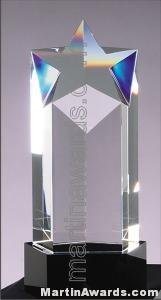 3 1/2″ x 8 1/4″ Genuine Prism Optical Crystal With Black Base Glass Awards 1