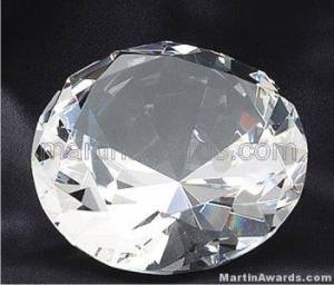 "4"" Diameter Genuine Glass Awards Diamond Shape"