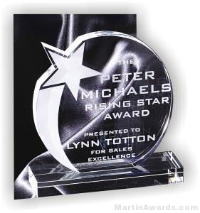 "6"" x 6 3/4"" Genuine Prism Optical Crystal Glass Awards Shooting Star With Base"