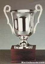 Silver Plated Trophy Cup On Mahogany Base
