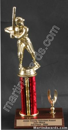 Red Single Column Male Baseball/Softball With 1 Eagle Trophy 1