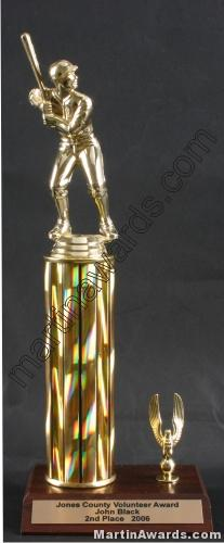 Gold Single Column Male Baseball/Softball With 1 Eagle Trophy
