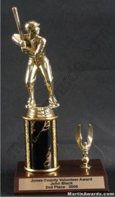 Black Single Column Male Baseball With 1 Eagle Trophy