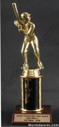 Black Single Column Male Baseball/Softball Trophy