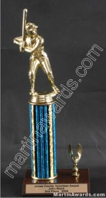 Blue Single Column Male Baseball/Softball With 1 Eagle Trophy