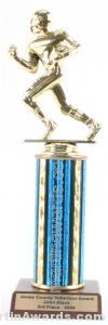 Blue Single Column Football Trophy