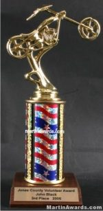 Red/White/Blue Single Column Chopper Motorcycle Trophy
