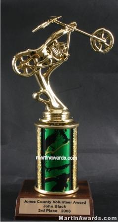 Green Single Column Chopper Motorcycle Trophy