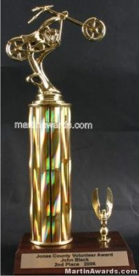 Gold Single Column Chopper With 1 Eagle Motorcycle Trophy