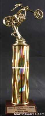 Gold Single Column Chopper Motorcycle Trophy