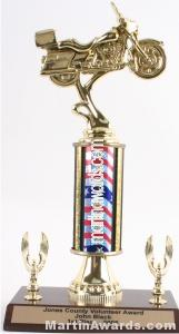 Red/White/Blue Single Column Road Motorcycle With 2 Eagles Trophy