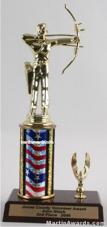 Red/White/Blue Single Column Male Archer With 1 Eagle Trophy 1