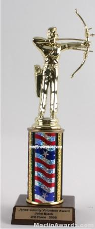 Red/White/Blue Single Column Male Archer Trophy 1