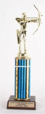 Blue Single Column Male Archer Trophy