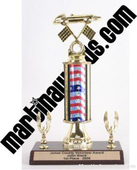 Red/White/Blue Single Column Pinewood Derby Car With 2 Eagles Trophy 1