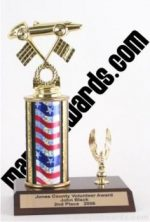Red/White/Blue Single Column Pinewood Derby Car With 1 Eagle Trophy