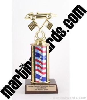 Red/White/Blue Single Column Pinewood Derby Car Trophy 1