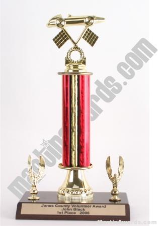 Red Single Column Pinewood Derby Car With 2 Eagles Trophy 1