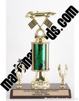 Green Single Column Pinewood Derby Car With 2 Eagles Trophy 1