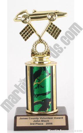 Green Single Column Pinewood Derby Car Trophy 1