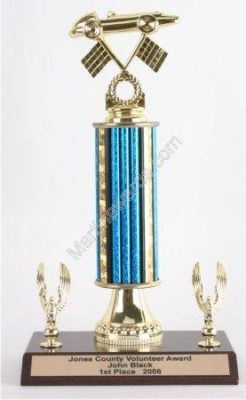 Blue Single Column Pinewood Derby Car With 2 Eagles Trophy