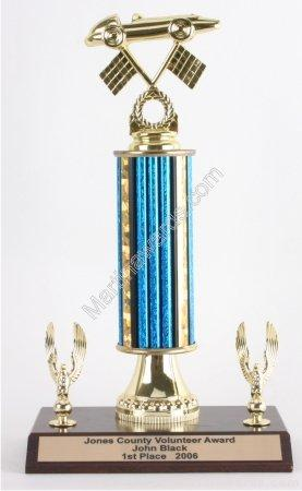 Blue Single Column Pinewood Derby Car With 2 Eagles Trophy 1