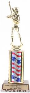Red/White/Blue Single Column Female Softball Trophy 1