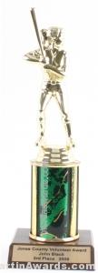 Green Single Column Female Softball Trophy 1