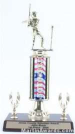 Red/White/Blue Single Column Male T-Ball With 2 Eagles Trophy