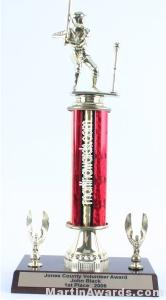 Red Single Column Male T-Ball With 2 Eagles Trophy 1