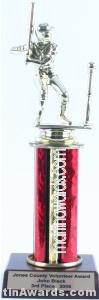 Red Single Column Male T-Ball Trophy