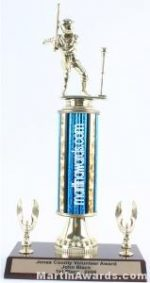 Blue Single Column Male T-Ball With 2 Eagle Trophy