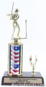 Red/White/Blue Single Column Female T-Ball With 1 Eagle Trophy