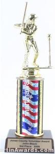 Red/White/Blue Single Column Female T-Ball Trophy 1