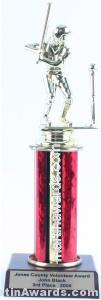 Red Single Column Female T-Ball Trophy 1